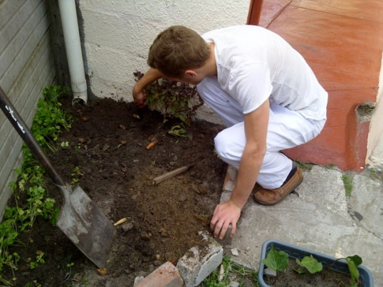 Grant at work in Hamilton's garden