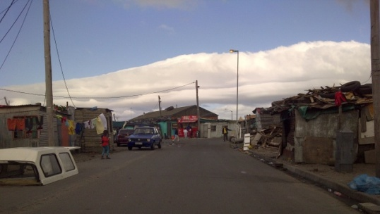 The street view of the community of Langa, where Hamilton lives