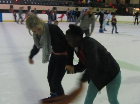 A skating lesson in progress