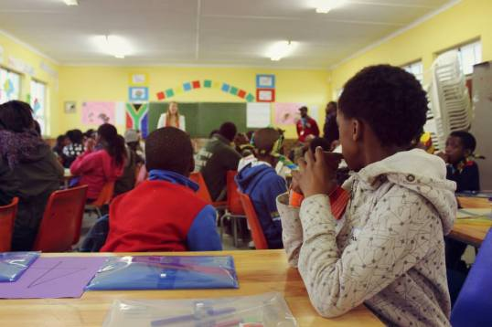 Volunteers teaching maths during Winter School last year.